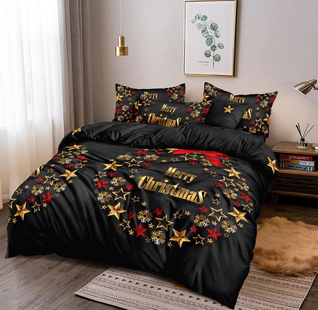 DomTextilu Sviatočné vianočné čierne posteľné obliečky s motívom adventného venca 4 časti: 1ks 160 cmx200 + 2ks 70 cmx80 + plachta Čierna 180x220 cm 46885-218393