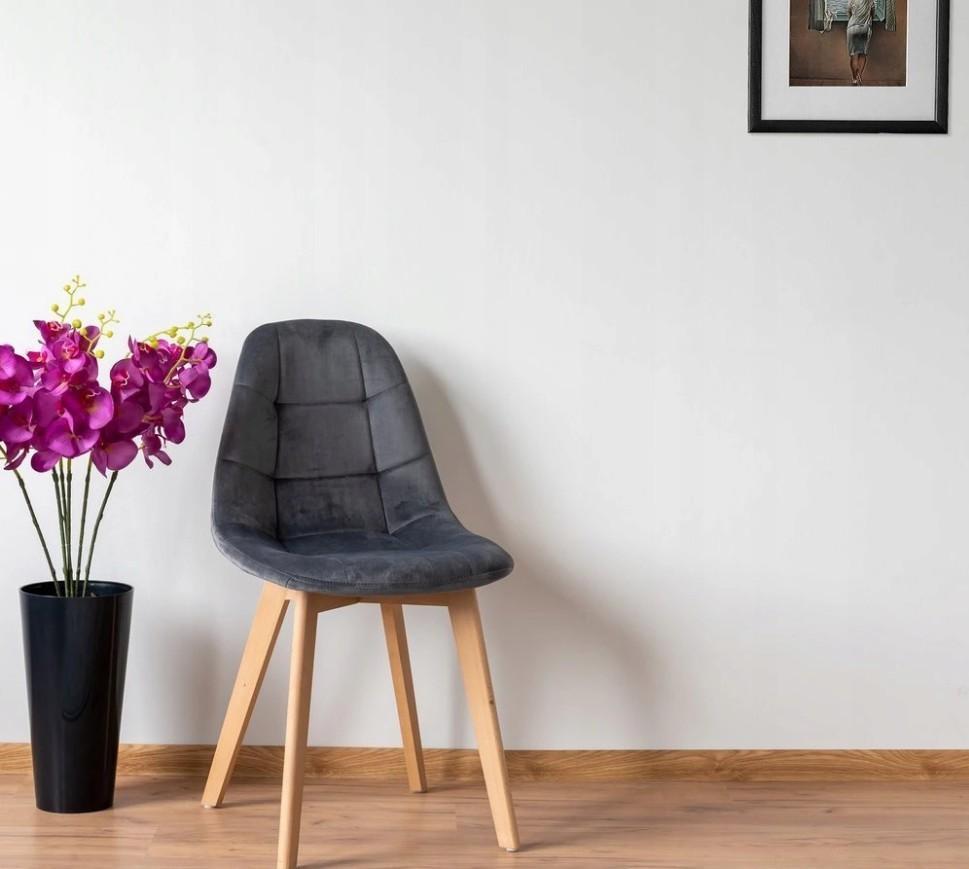 DomTextilu Tmavo sivá moderná stolička s luxusným čalúnením 24512