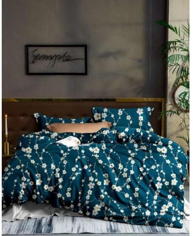 DomTextilu Tmavozelené posteľné obliečky s potlačou kvetov 3 časti: 1ks 160 cmx200 + 2ks 70 cmx80 Zelená 140x200 cm 28768-155214