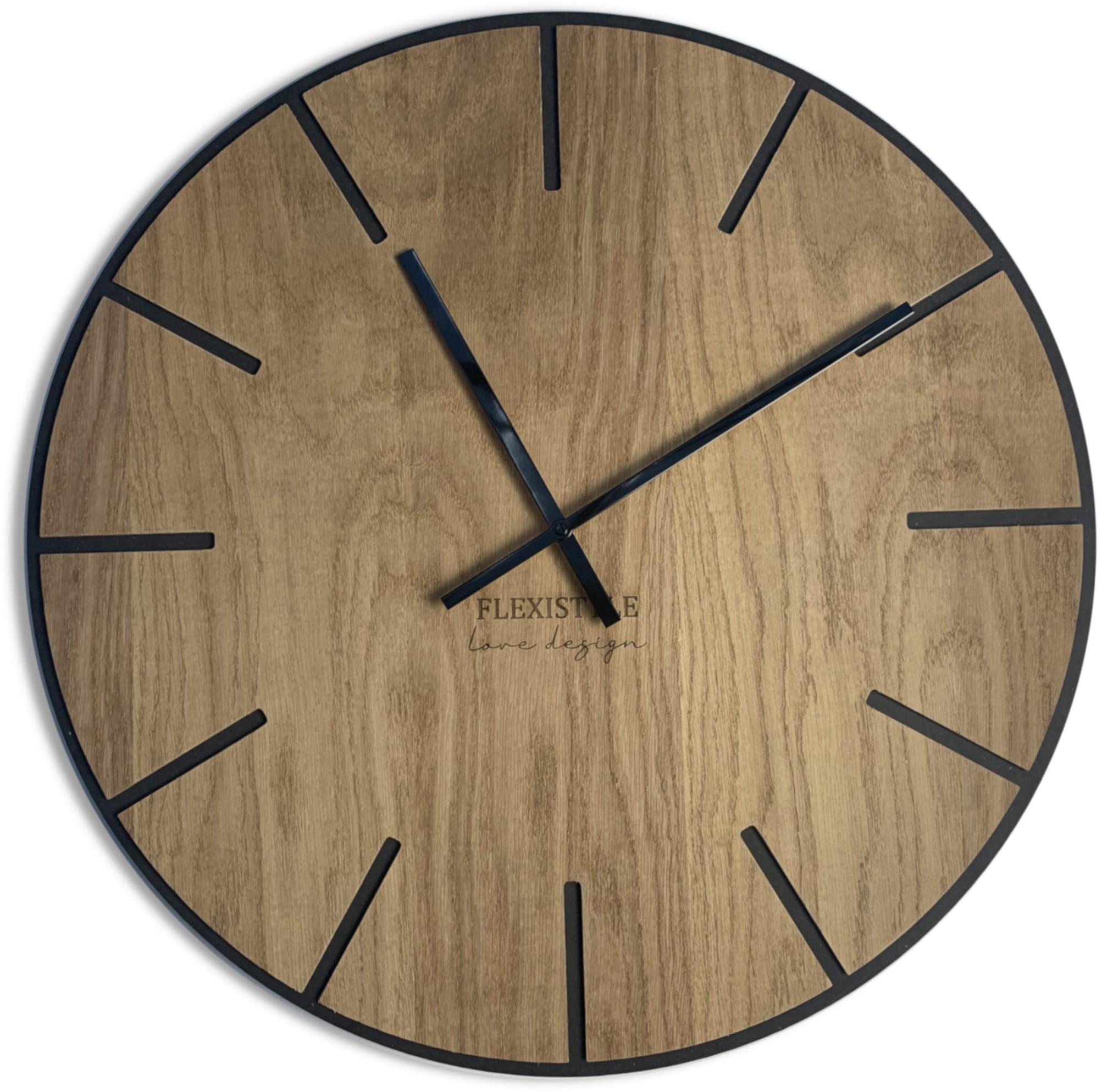 DomTextilu Veľké drevené hodiny v hnedej farbe 60cm 16604