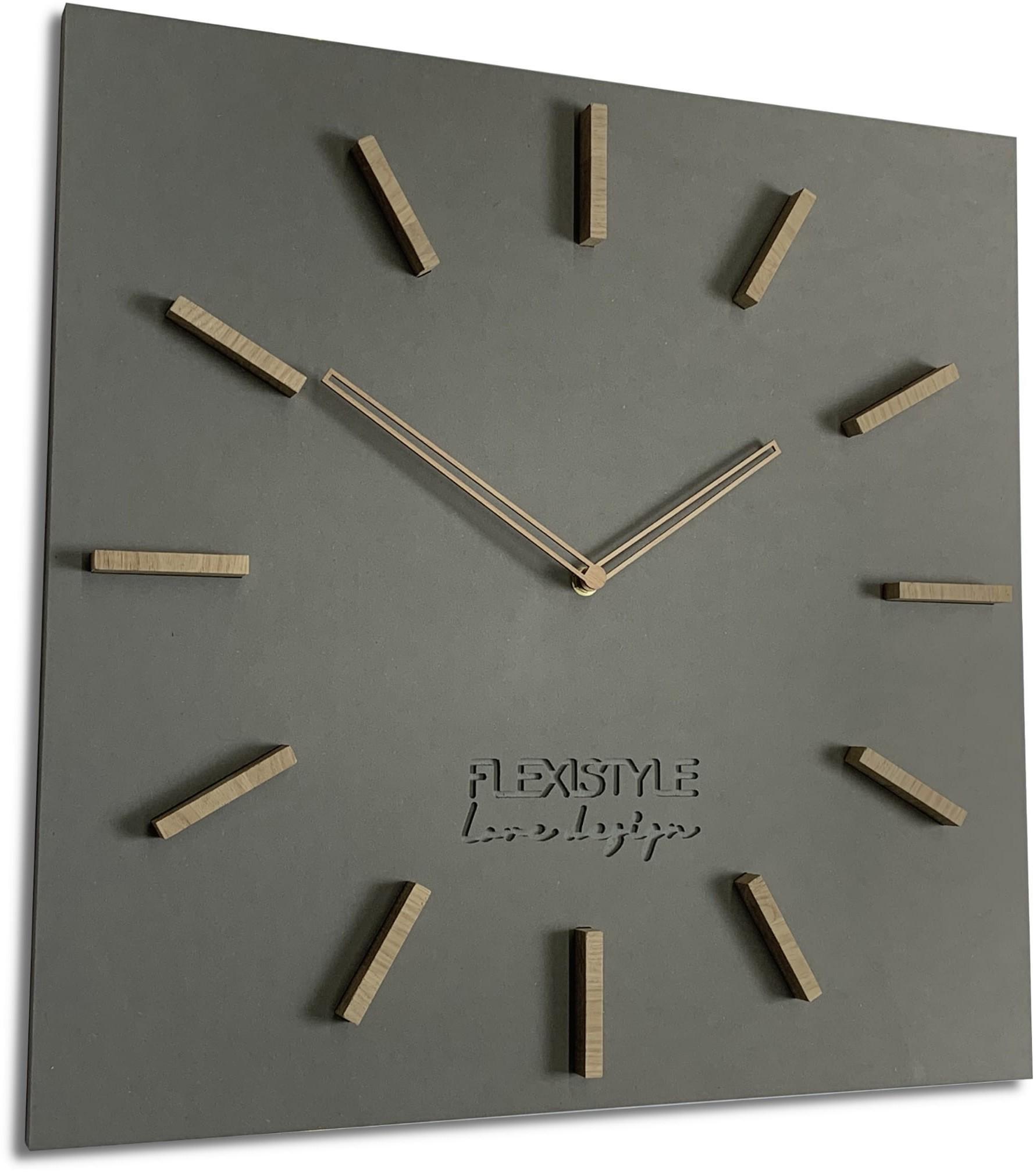 DomTextilu Veľké hodiny na stenu z dreva v sivej farbe 16613