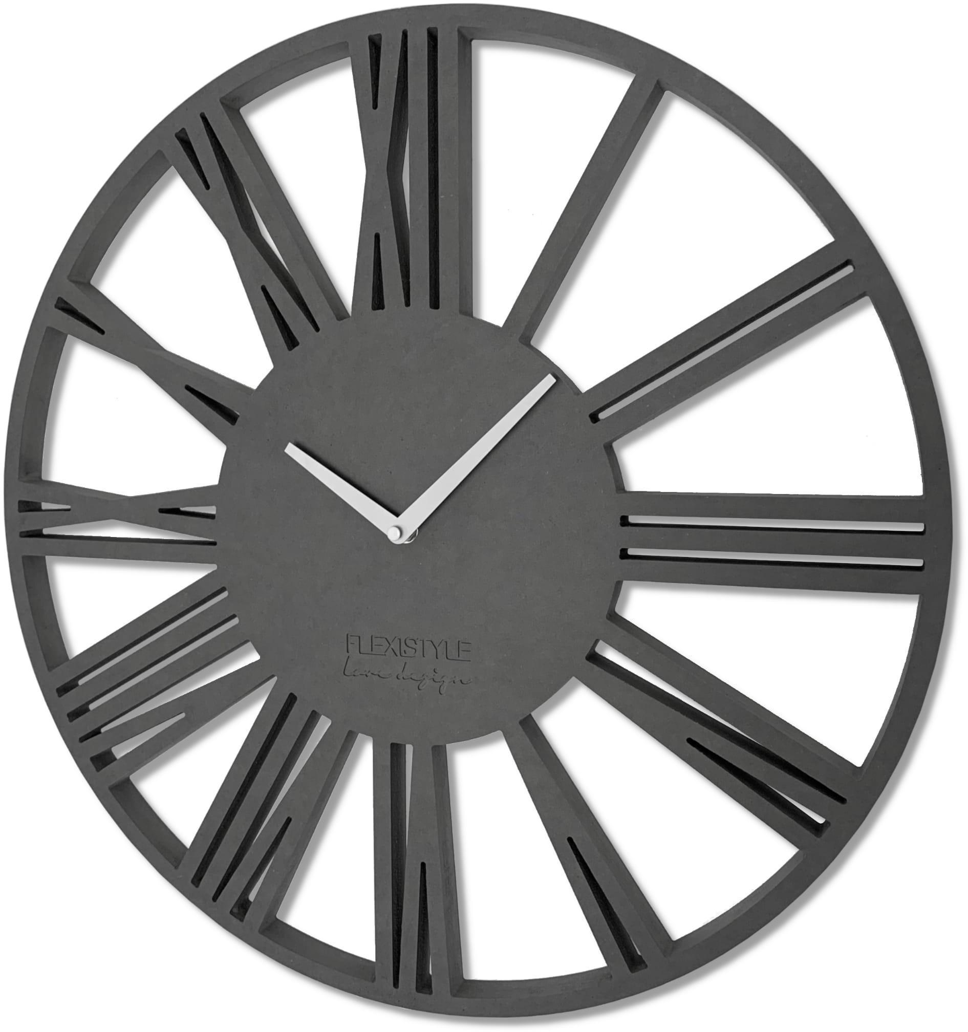 DomTextilu Veľké nástenné hodiny z dreva s rímskymi číslicami 16611