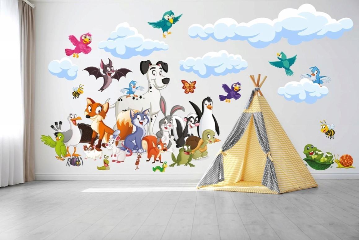 DomTextilu Veselá detská nálepka na stenu zvieratká 60 x 120 cm 42107