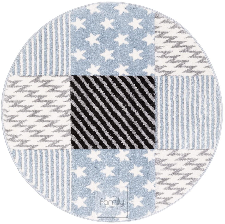 DomTextilu Vzorovaný modrý okrúhly koberec do chlapčenskej izby 41721-197006