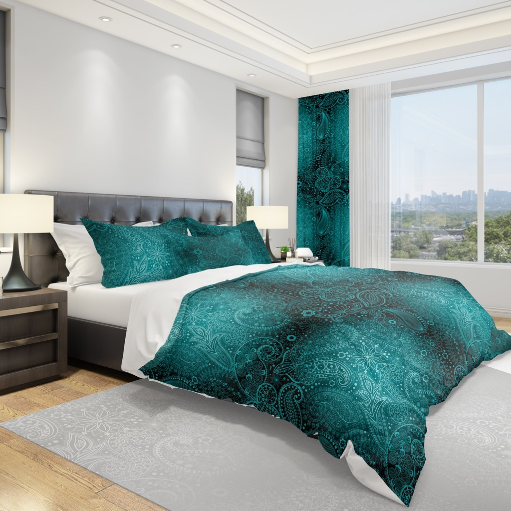 DomTextilu Zelené obliečky na posteľ s ornamentmi 3 časti: 1ks 160 cmx200 + 2ks 70 cmx80 Zelená 70 x 80 cm 11891-36005