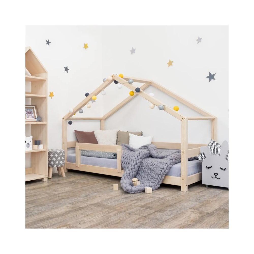 Drevená detská posteľ domček s bočnicou Benlemi Lucky, 90 x 200 cm