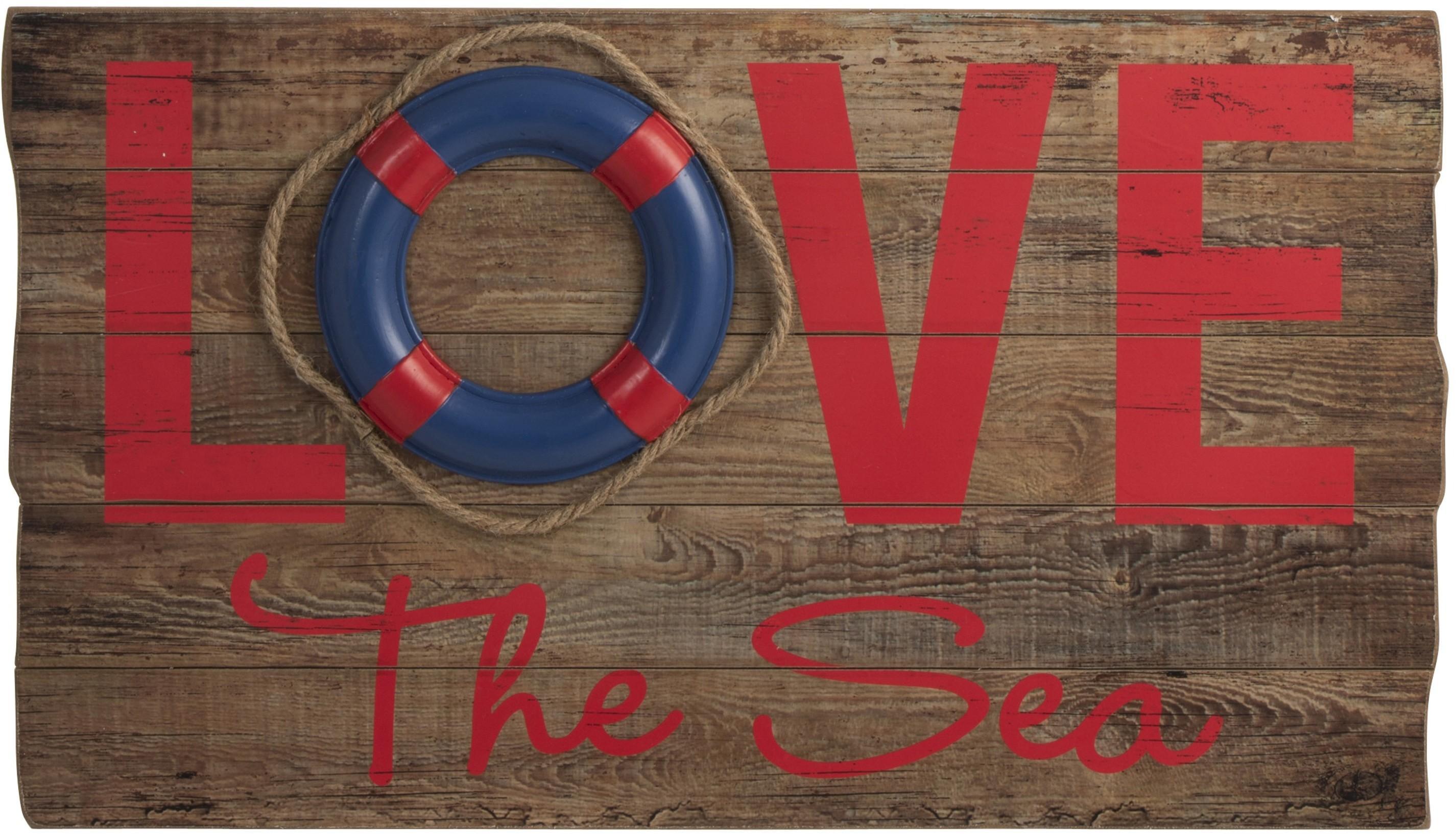 Drevená nástenná 3D ceduľa Love the Sea - 70 * 40 * 5cm