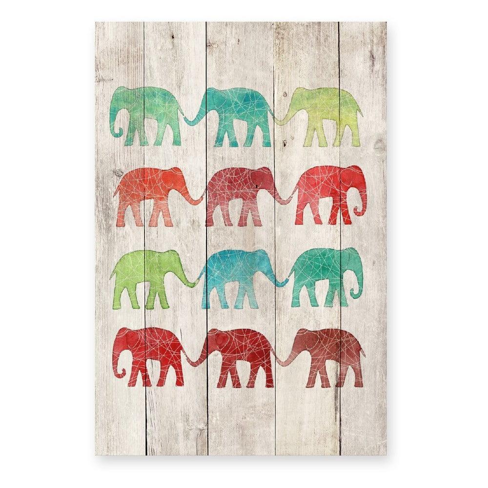 Drevená nástenná dekoratívna ceduľa Surdic Elephants Cue, 40 × 60 cm