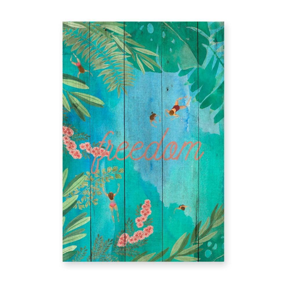 Drevená nástenná dekoratívna ceduľa Surdic Tabla Lago, 40 × 60 cm