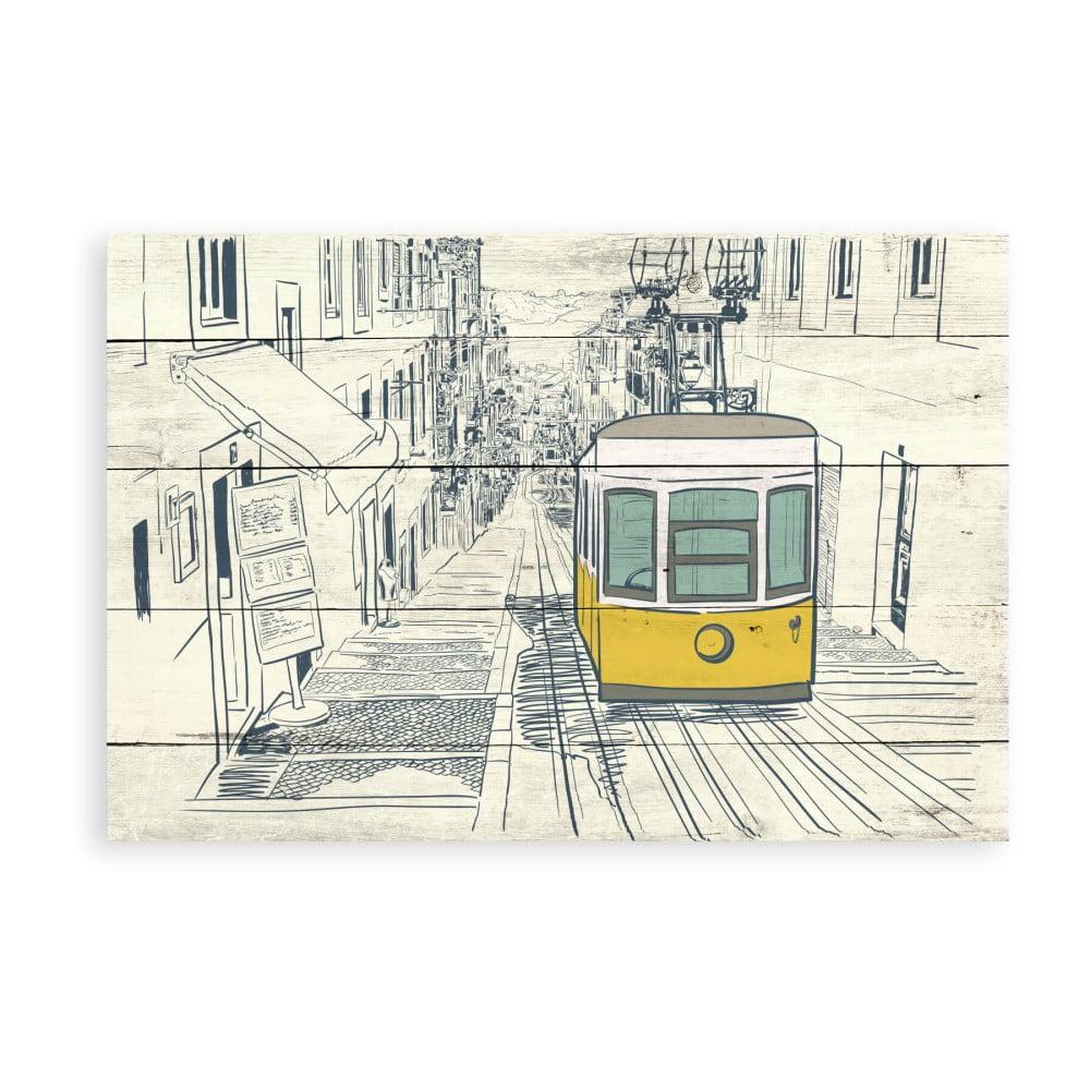 Drevená nástenná dekoratívna ceduľa Surdic Tabla Train, 40 × 60 cm