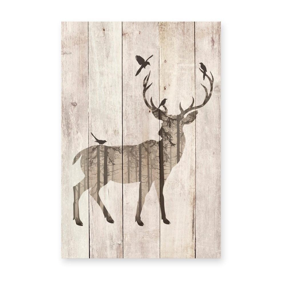 Drevená nástenná dekoratívna ceduľa Surdic Watercolor Deer, 40 × 60 cm