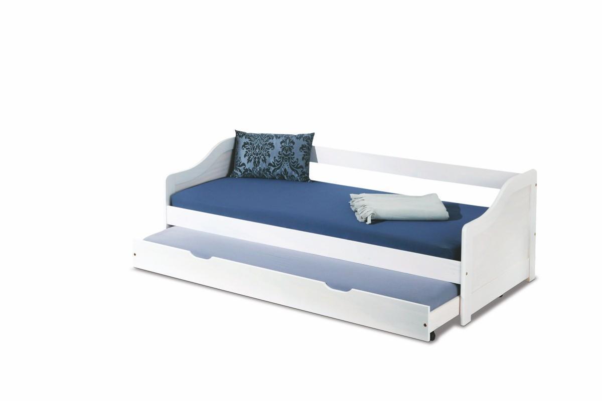 Drevená posteľ s prístelkou Leonie 90x200 biela