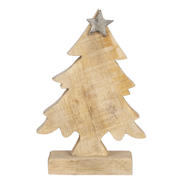 Drevená vianočné dekorácie Strom s hviezdou - 12 * 5 * 15 cm
