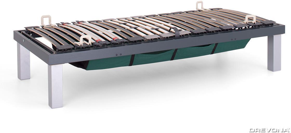 DREVONA05 Lamelové jednolôžko s úložným priestorom šedé 80x200 SKELETON