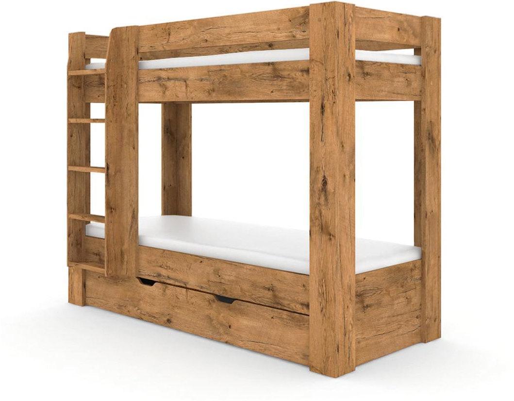 DREVONA09 Poschodová posteľ REA PIKACHU dub lancelot, ľavá