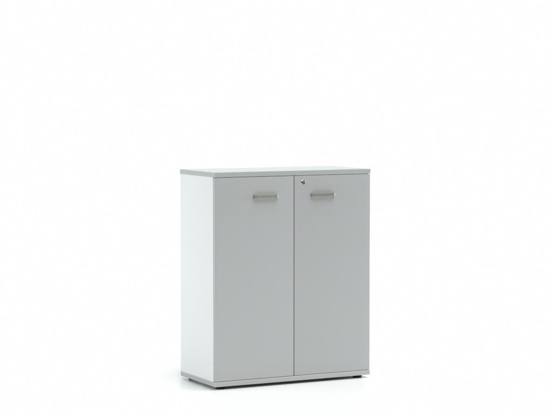 DREVONA33 Kancelárska skrinka s dvierkami stredná LUTZ, šedá + biela