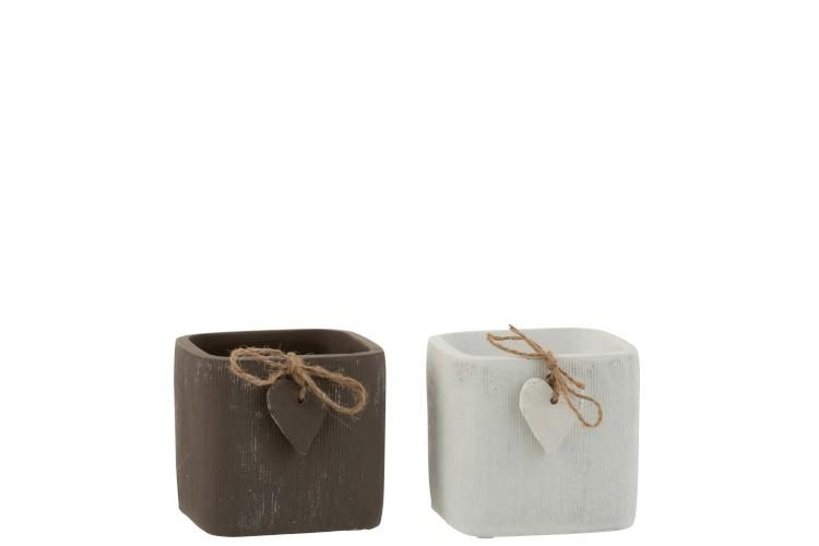 Dva betónové kvetináče hnedý a biely so srdiečkom- 11*11*10 cm