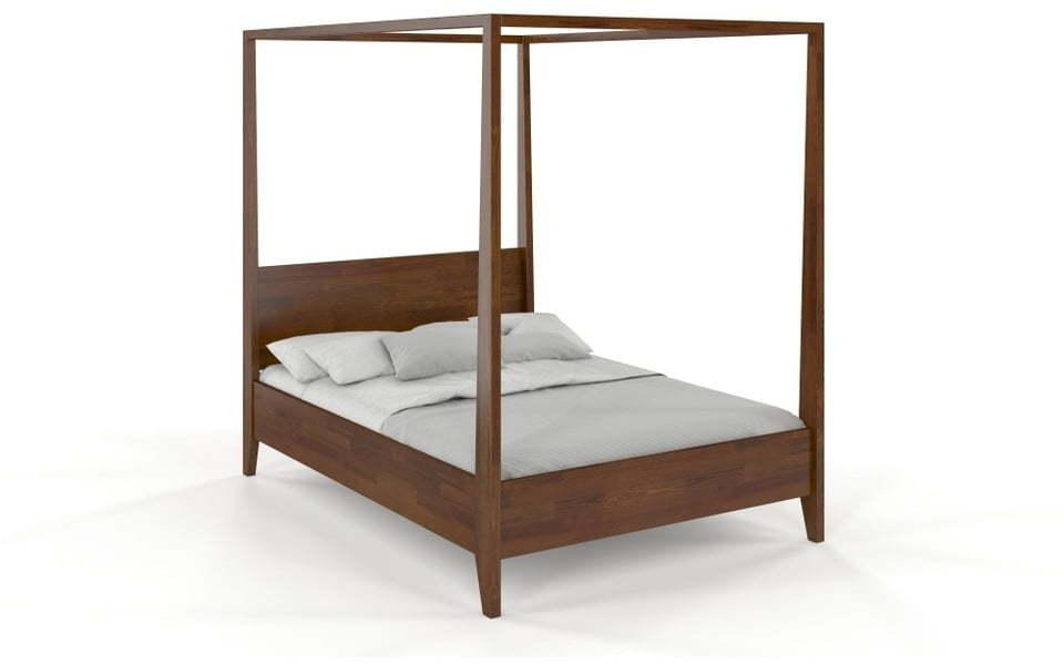Dvojlôžková posteľ z masívneho borovicového dreva SKANDICA Canopy Dark, 140 x 200 cm