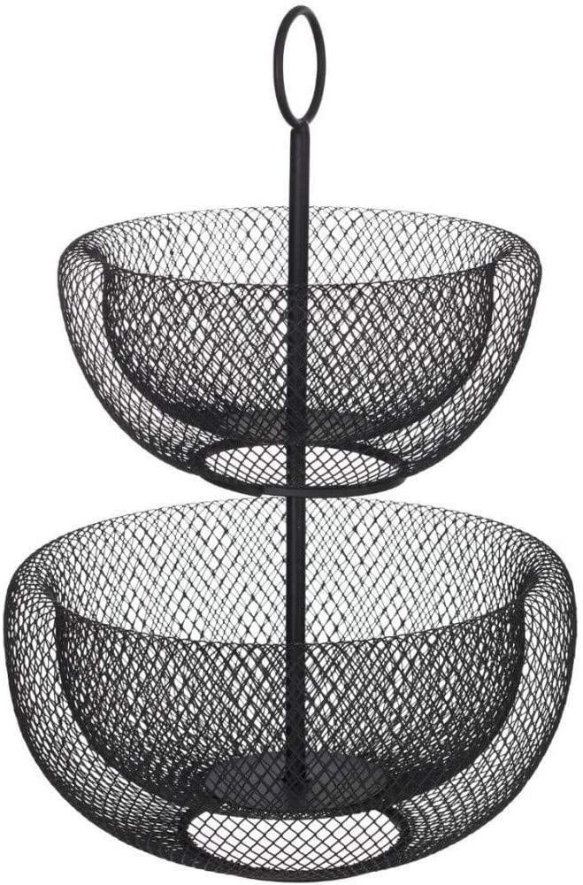 Dvojposchodový kôš na ovocie 5Five 0711, čierny