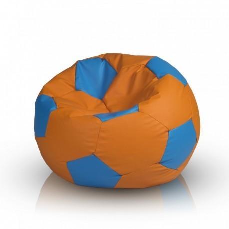 EF1042 Ecopuf Detský MINI sedací vak ECOPUF - FOOTBALL S farebný - ekokoža Oranžová , E2 - Smotanovo biela