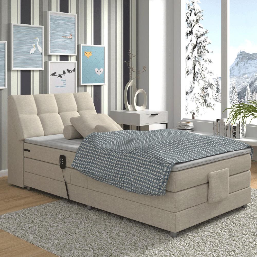 Elektrická polohovacia posteľ, boxpring, béžová, 120x200, GERONA
