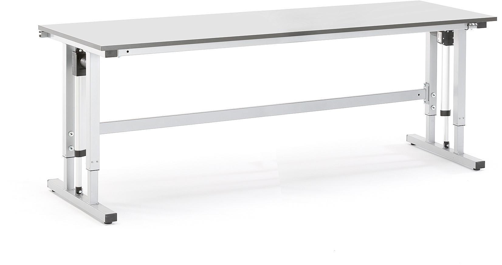 Elektricky nastaviteľný dielenský stôl Motion, nosnosť 300 kg, 2500x800 mm