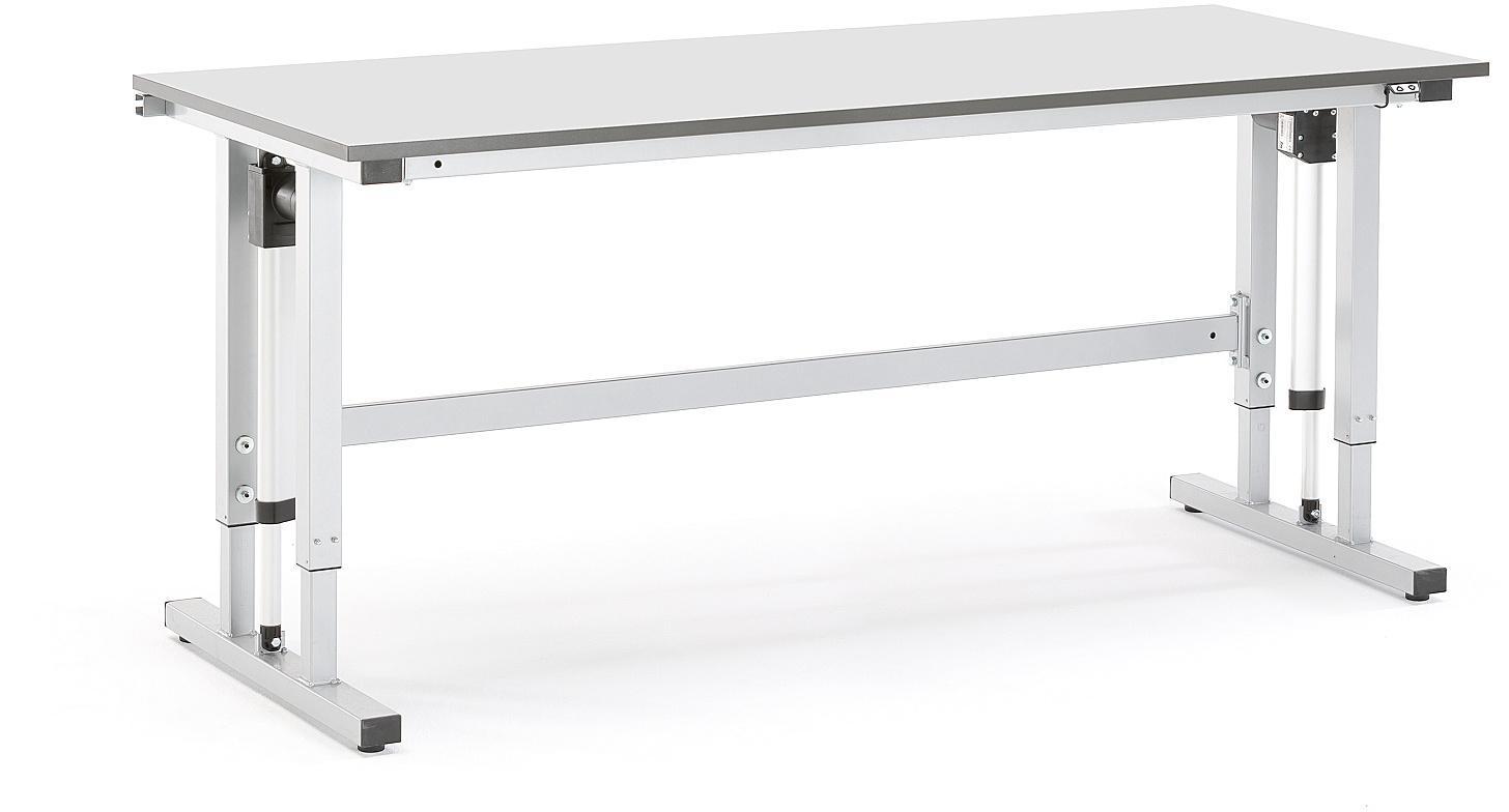 Elektricky výškovo nastaviteľný dielenský stôl Motion, nosnosť 400 kg, 2000x800 mm