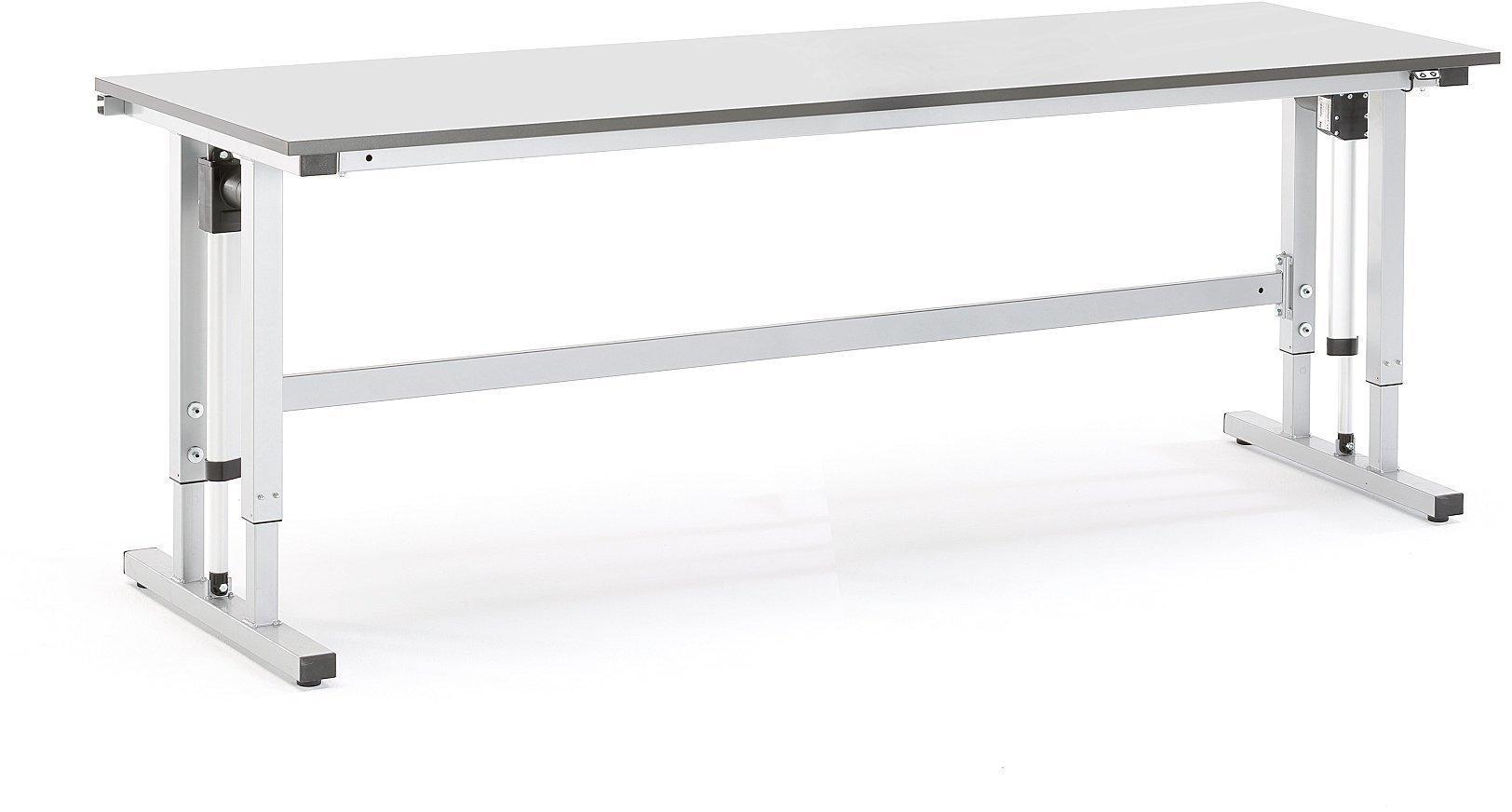 Elektricky výškovo nastaviteľný dielenský stôl Motion, nosnosť 400 kg, 2500x800 mm