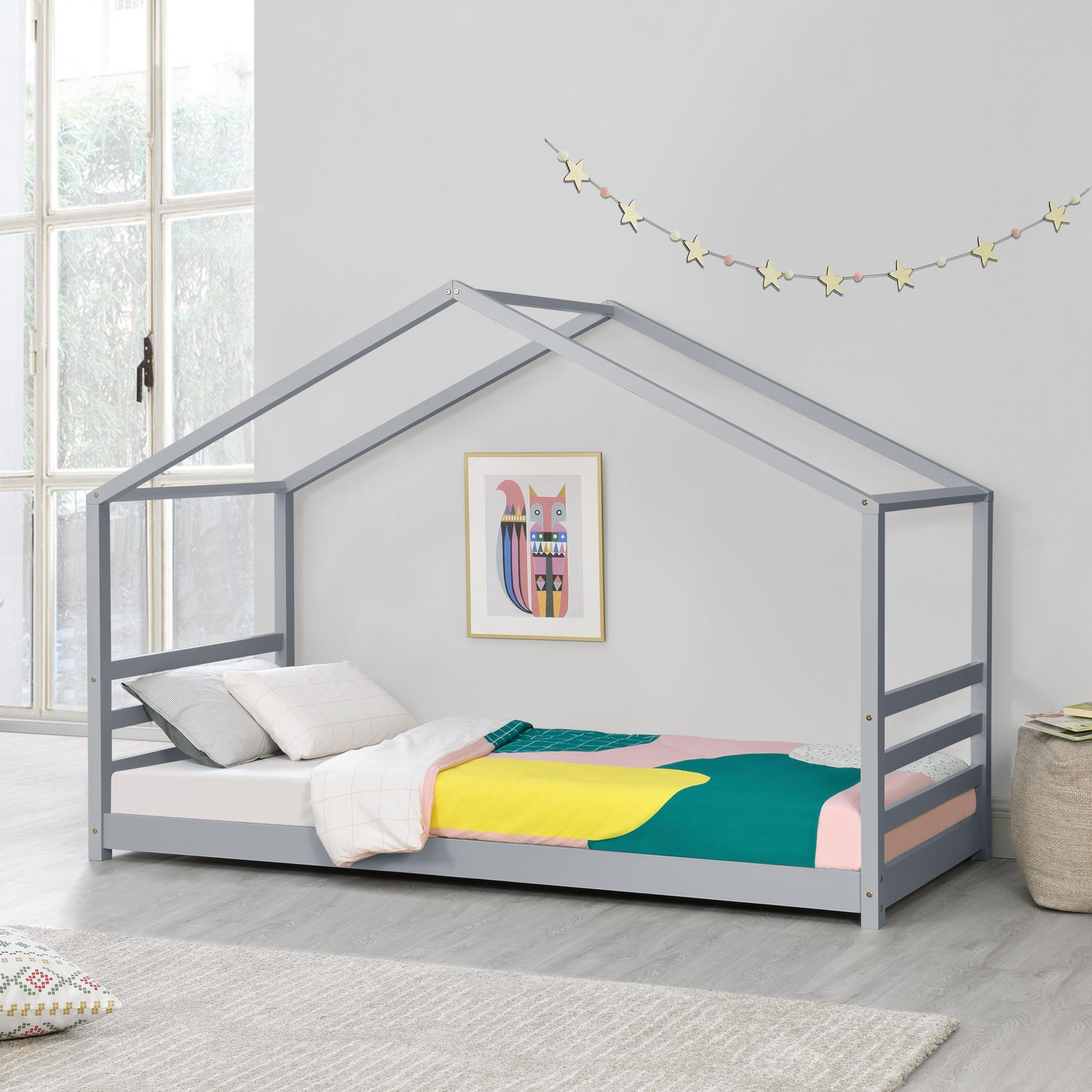 [en.casa] Detská posteľ domček AAKB-8759 sivá 90x200 cm