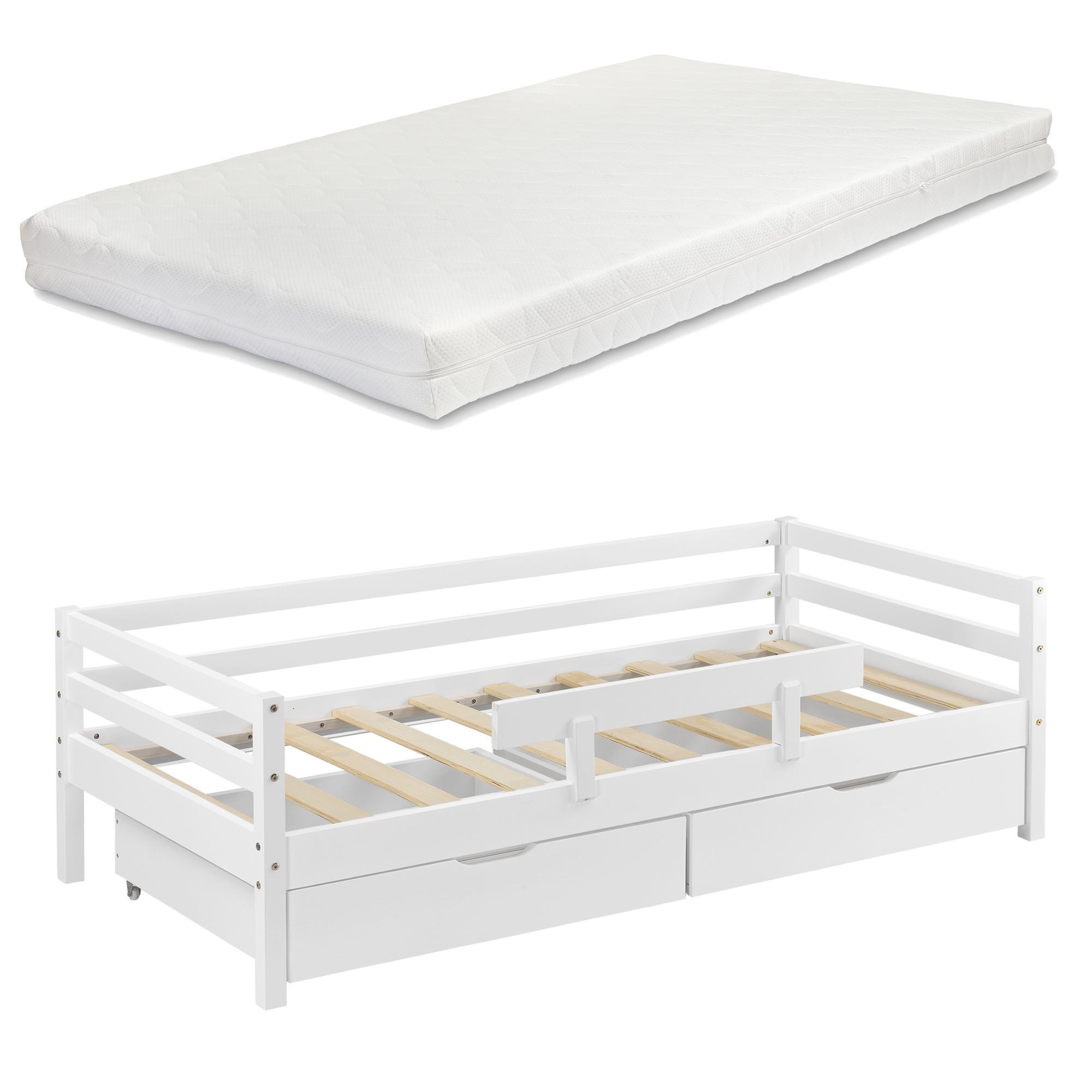 [en.casa] Detská posteľ REYKHOLT AAKB-8741 90x200 cm biela s matracom