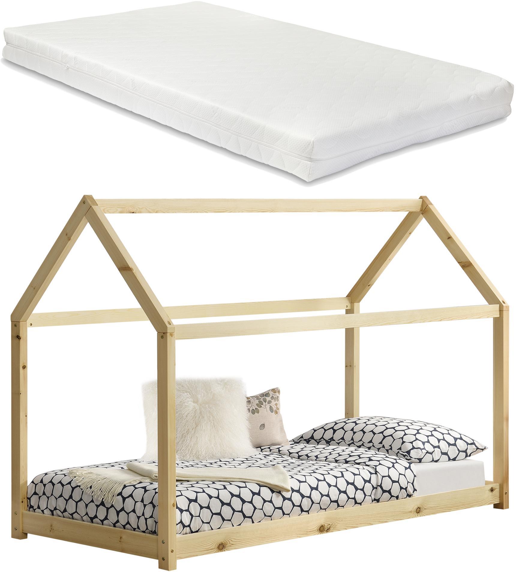 [en.casa]® Detská posteľ s matracom AAKB-8677 + HKSM