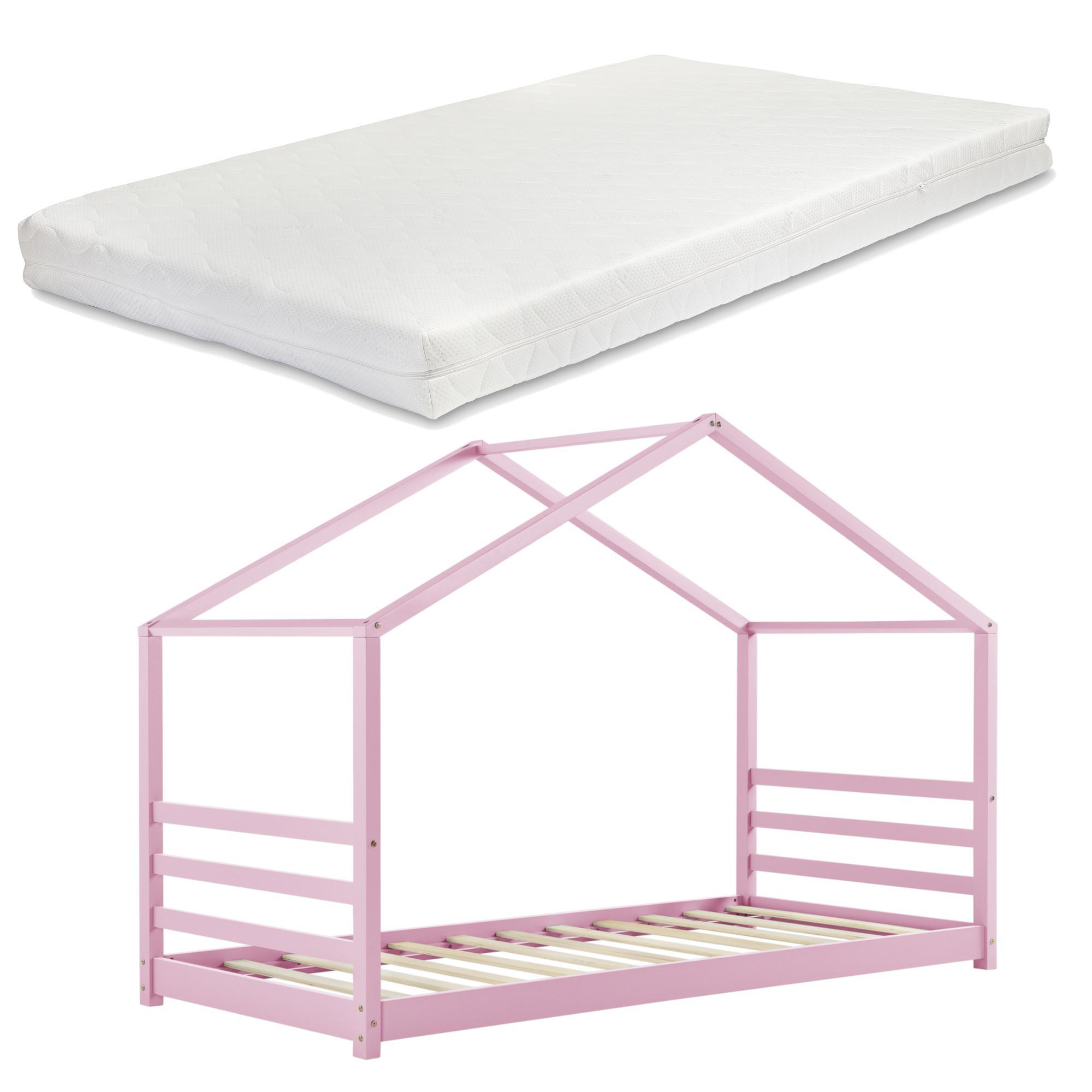 [en.casa] Detská posteľ VARDØ AAKB-8781 90x200 cm ružová s matracom
