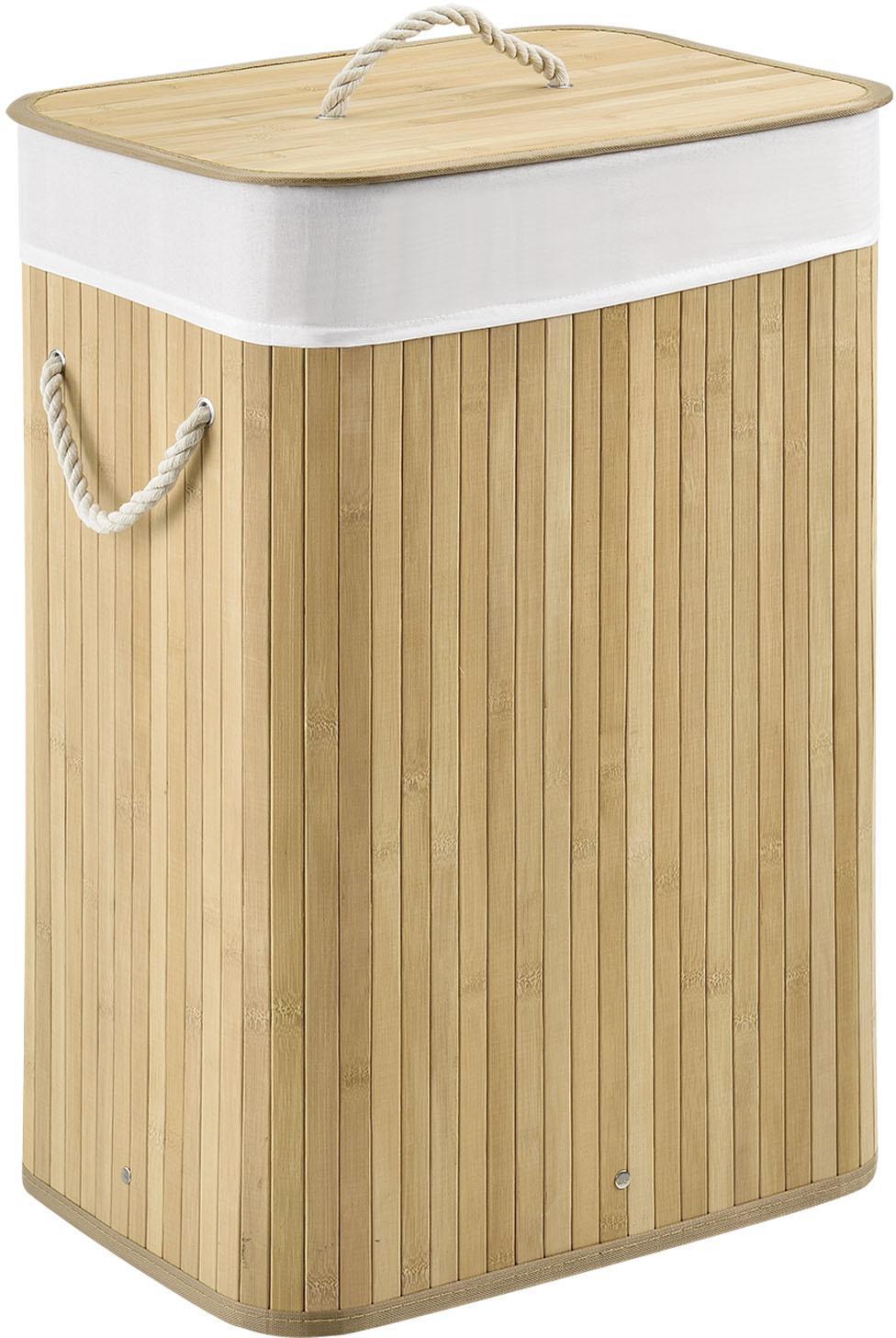 Eshopist Bambusový kôš na prádlo Curly 72 litrový, natúr s vrecom na bielizeň a s uškami na prenášanie, 300341