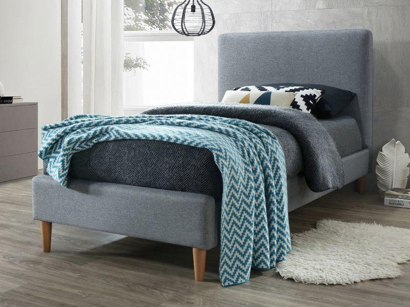 Eshopist Čalúnená posteľ ACOMA 90 x 200 cm farba šedá/dub