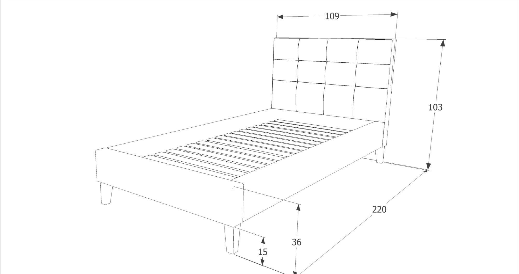 Eshopist Čalúnená posteľ TEXAS 90 x 200 cm farba šedá / dub