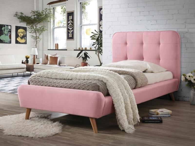 Eshopist Čalúnená posteľ TIFFANY 90 x 200 cm farba ružová / dub