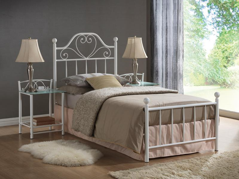 Eshopist Kovová posteľ LIMA 90 x 200 cm farba biela