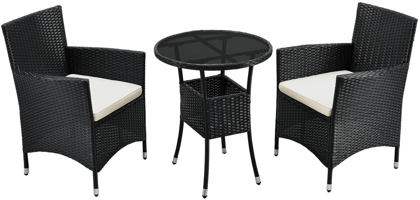 Eshopist Polyratanový záhradný nábytok, balkónová súprava Bayamo v čiernej farbe s tmavosivými poťahmi