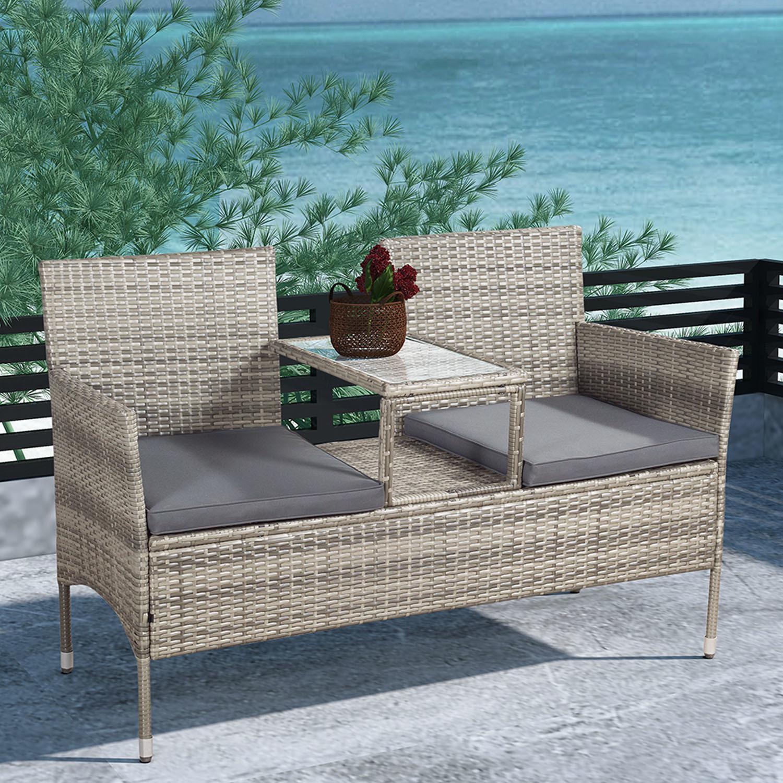 Eshopist Polyratanový záhradný nábytok Monaco sivý melírovaný s tmavosivým matracom