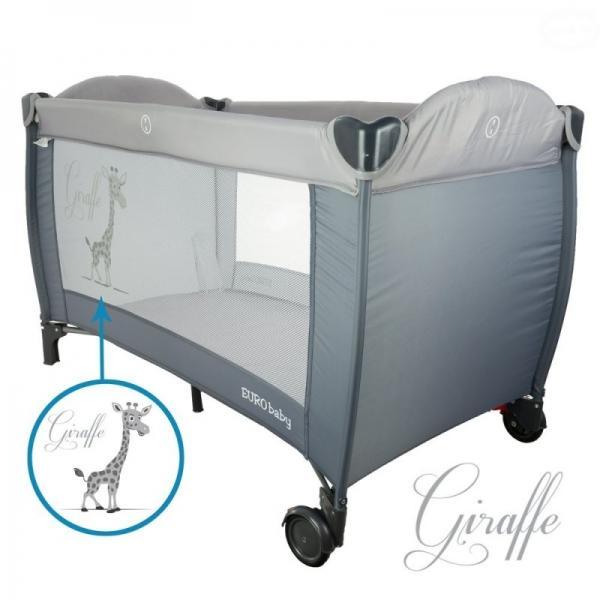 EURO BABY - Dětská cestovná posteľ Žirafa - sivá, K19