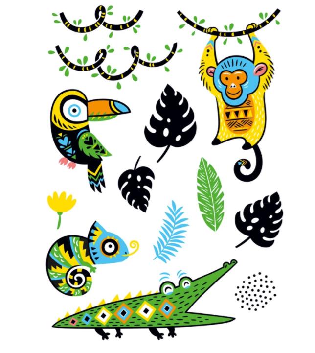 Eurographics Nálepky na stenu - Tropical Jungle Animals 4x 25x35cm