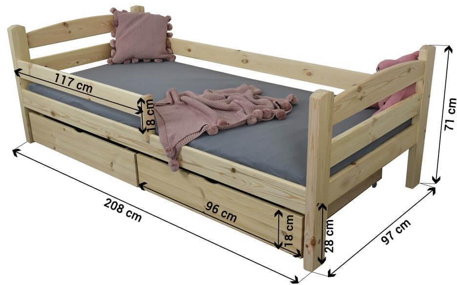 FA Detská posteľ so zábranou Oľga 5 90x200 - prírodná