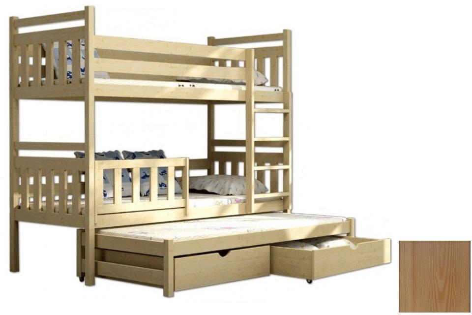 FA Poschodová posteľ s prístelkou Petra 5 200x90 Farba: Dub