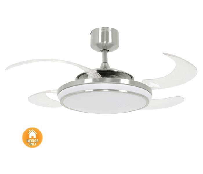 FANAWAY EVO1 LED 211036 48″ matný chróm/transparentná Reverzný stropný ventilátor