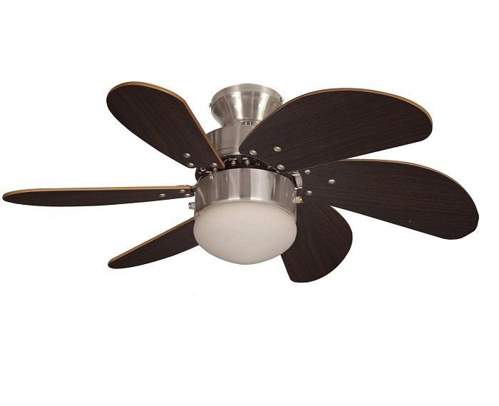 """FANTASIA ATLANTA 114390 30"""" matný nikel/tmavý dub Reverzný stropný ventilátor"""