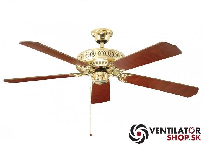 """FANTASIA CLASSIC 110019 52"""" leštená mosadz/dub/mahagón  Reverzný stropný ventilátor"""