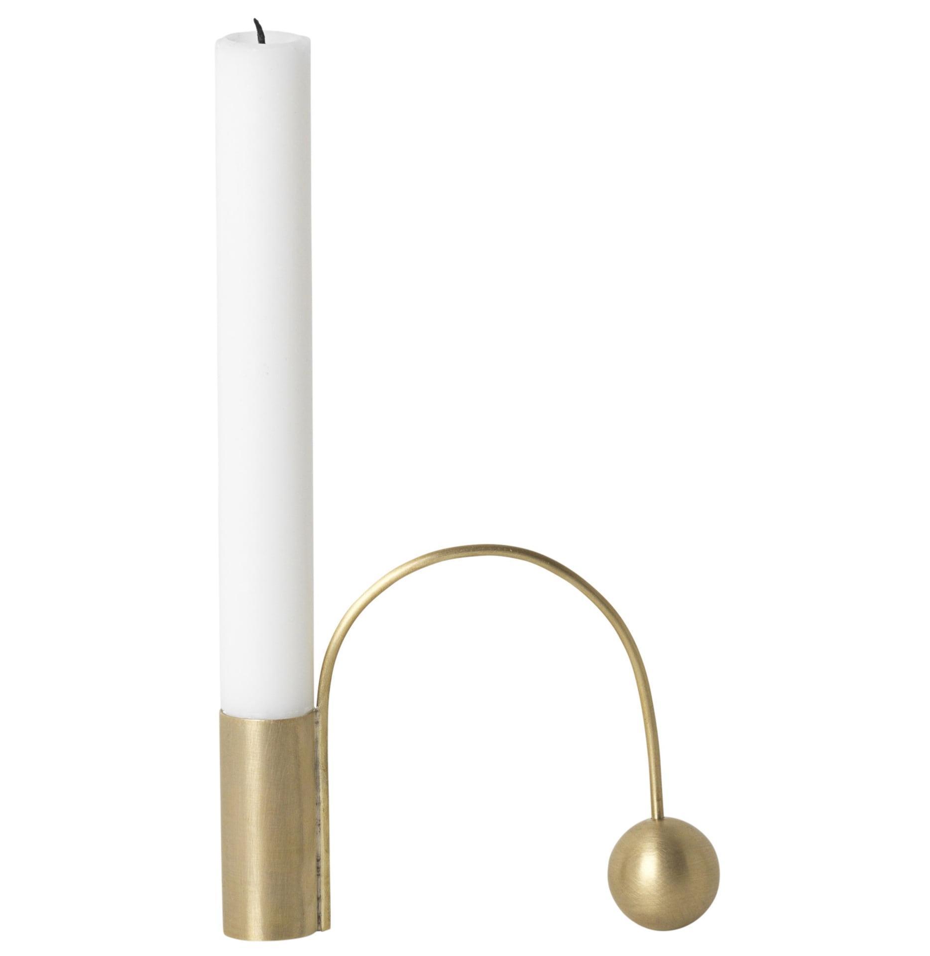ferm LIVING Kovový svietnik Brass Balance Candle Holder