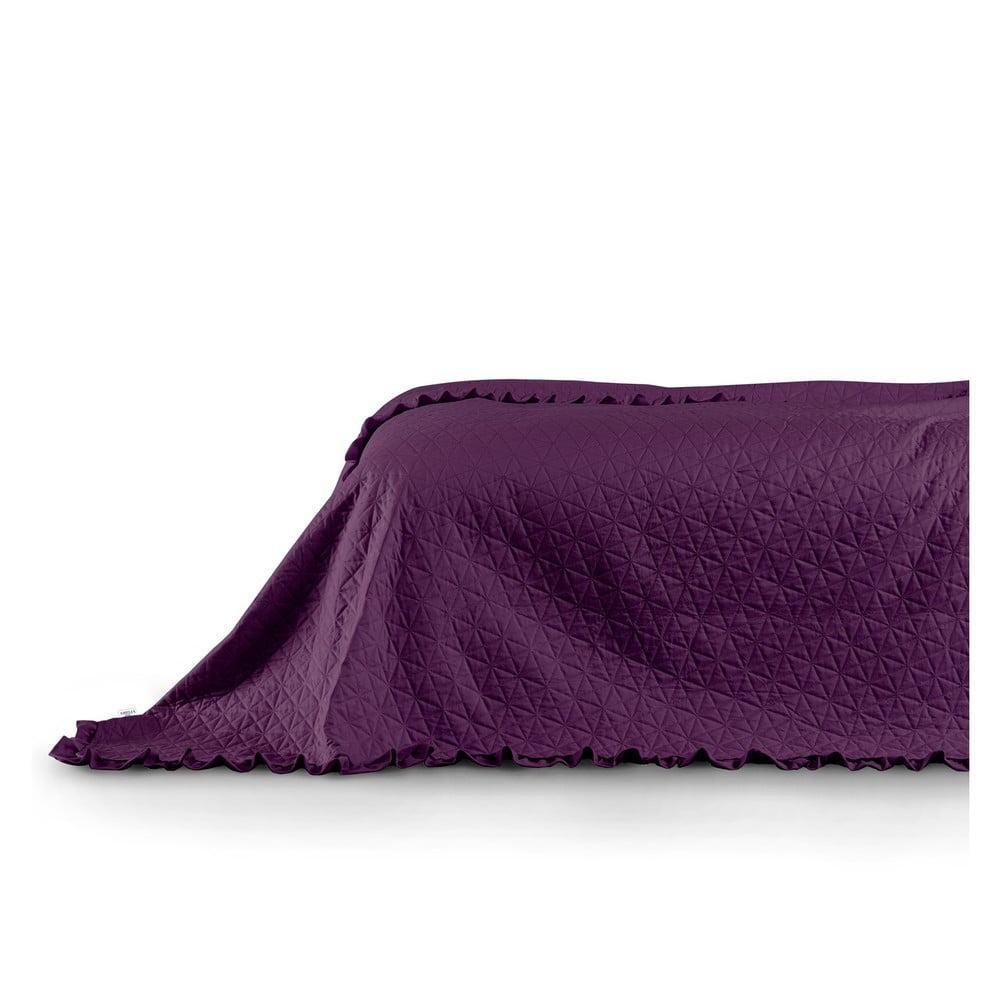 Fialový pléd cez posteľ AmeliaHome Tilia Plum, 260 x 240 cm