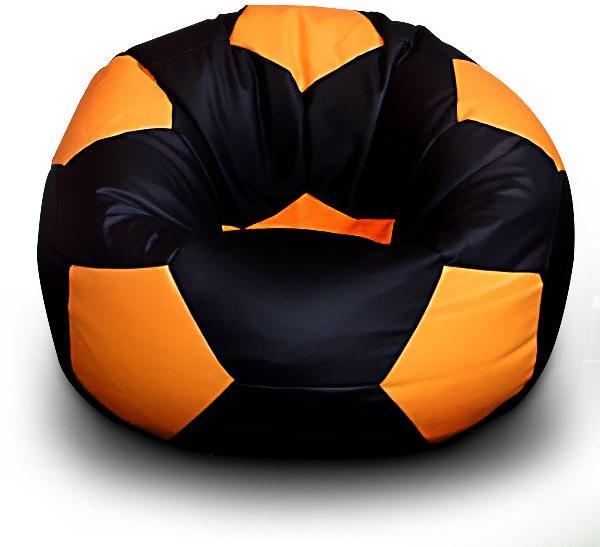 FITMANIA Sedací vak Futbalová LOPTA MÍČ XXL + podnožník Vzor: 05 ČERNO-ORANŽOVÁ