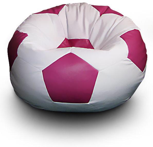 FITMANIA Sedací vak Futbalová LOPTA XL Vzor: 02 BÍLO-RŮŽOVÁ